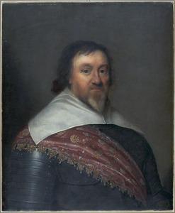 Portret van een officier met een oranje sjerp