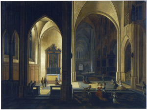 Interieur van een gotische kerk bij kaarslicht