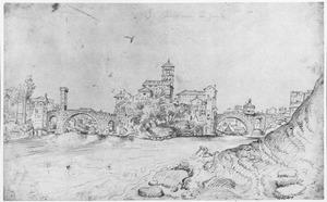 Tibereiland te Rome, stroomopwaarts gezien