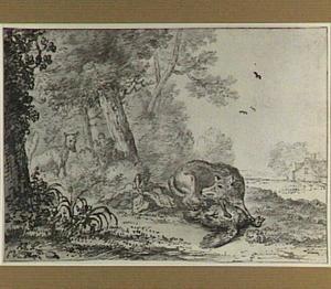 Twee vossen en een gedode vogel in een boslandschap