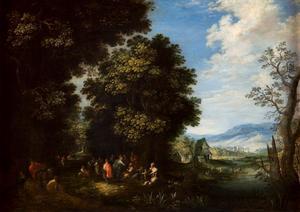Landschap met mensen op een bosweg en een rivier vallei
