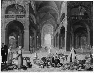 Kerkinterieur met markttafereel en uitdrijving van de wisselaars uit de Tempel