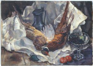 Stilleven met fazanten op witte doek