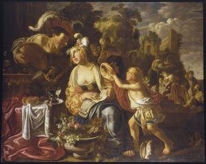 Zingende vrouw en luitspelende man; op de achtergrond de gelijkenis van Dives en de arme Lazarus
