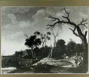 Reizigers op een weg langs een rivier; in de verte een dorp
