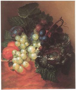 Stilleven met vruchten en een vogelnestje
