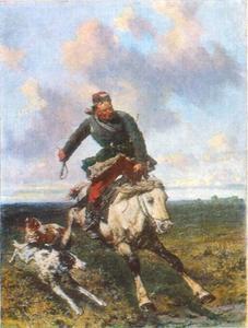Jager met zijn barzois