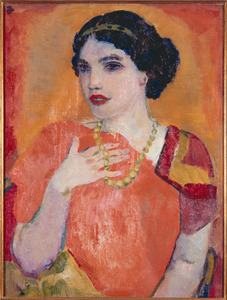 Portret van een vrouw in een oranje jurk