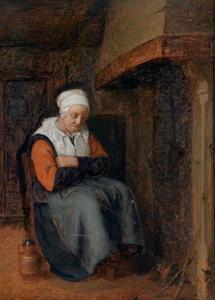 Zittende vrouw bij de schoorsteen