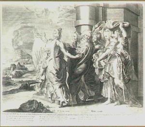 De engel spoort Lot en zijn gezin aan,  Sodom te verlaten (Genesis 19:15)