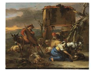 Herders in een berglandschap die een schaap scheren en een geit melken