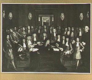 Groepsportret bij gelegenheid van de ondertekening van het Vredesverdrag met Portugal, 31 juli 1669