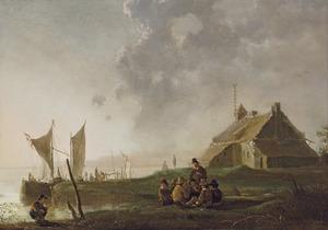 Rivierlandschap met wachthuis op de oever; in de verte Dordrecht