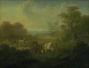 Herten in een hertenpark, met paleis Hermitage op de achtergrond