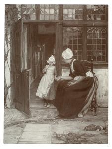 Vrouw en kind in klederdracht op een binnenplaats
