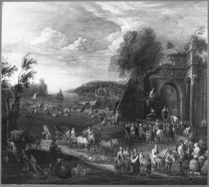 Zuidelijk landschap met stad aan een baai; reizigers en handelaren in de voorgrond, toneelspelers op de achtergrond