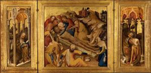H. Antonius (links), De balseming van het lijk van Christus (midden), Johannes de Doper (rechts)