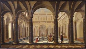 Binnenplaats van een paleis met Uria voor David (2 Samuel 11:6-8)