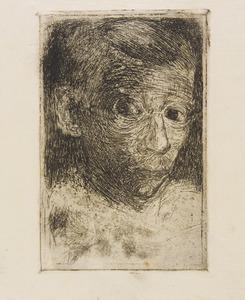 Zelfportret, driekwart naar rechts met snorretje