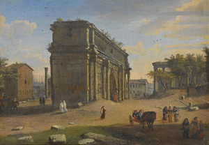 Gezicht op de Campo Vaccino (Forum Romanum) met de Boog van Septimius Severus