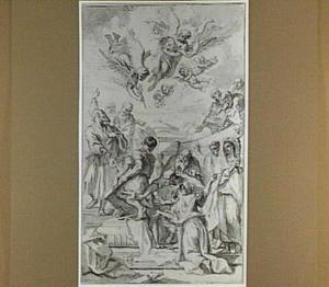 Het openen van het graf van een martelaar bij het Pantheon in Rome