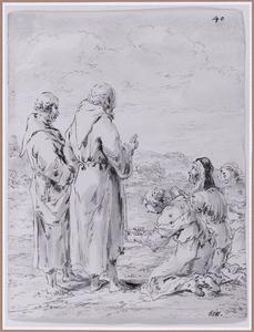 Twee monniken met knielende rouwen (Suenos 1641, boek VI, vijfde droom)