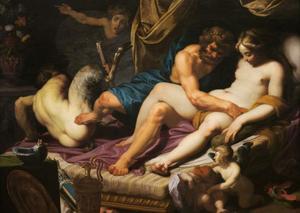 De als vrouw verklede Hercules trapt Pan van Omphale