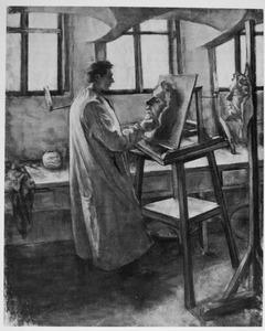 Portret van Berend Jan Korteling in de kelder van de HBS aan de Pontsteeg te Deventer