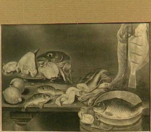 Visstilleven met een snoek en een platvis aan een ankerhaak