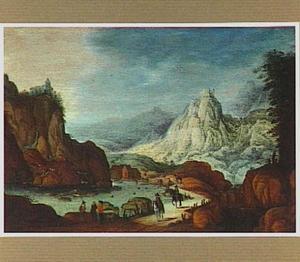 Bergachtig rivierlandschap met ruiters