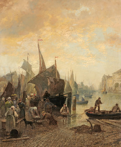 Vismarkt in een Hollandse havenstad