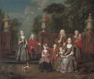 Portret van een familie in een park