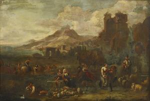 Zuidelijk landschap met groentenverkoper temidden van antieke ruïnes