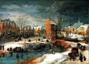 Een dorp in de winter