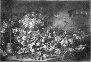 Vruchtenstilleven met links een fruitboompje in een pot