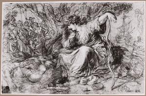 Chariclea en de gewonde Theagenes op het strand na schipbreuk