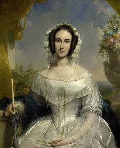 Portret van Agatha Petronella Hartsen (1814-1878), echtgenote van notaris Jan van der Hoop, in bruidskleding