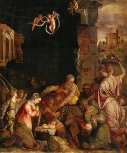 De aanbidding van de herders tussen Romeinse ruines