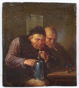 Twee rokende mannen in een interieur
