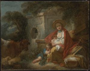 Herderin  met twee kinderen