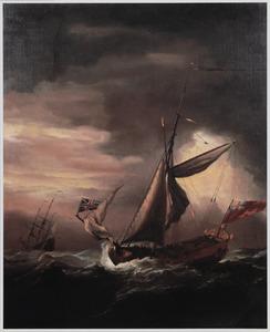Een Engels jacht en andere schepen op een woelige zee