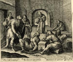 Een van de zeven werken van barmhartigheid: het bezoeken der gevangenen (Matteus 25: 35-36)