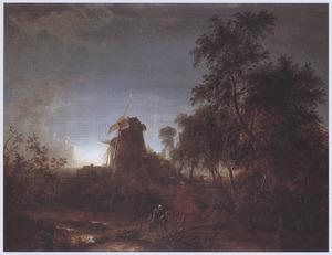 Landschap met molen bij maanlicht