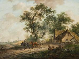 Landschap met paard en wagen bij een herberg