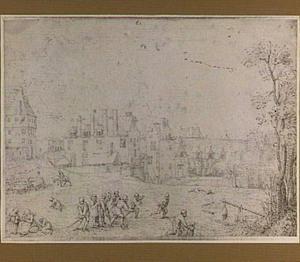 Gansknuppelen bij een stad (Antwerpen?)