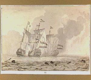 Drie oorlogsschepen in gevecht op volle zee