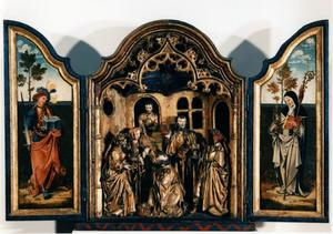 De H. Adrianus (binnenzijde linkerluik); De aanbidding der Wijzen (middendeel); De H. Clara (binnenzijde rechterluik)