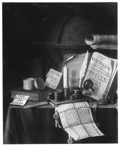 Stilleven met boeken, globe en schrijfgerei op een tafel