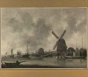Riviergezicht met op de rechteroever een molen en een hooiberg