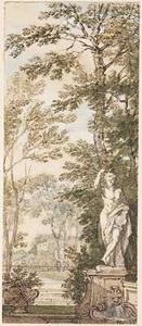 Parklandschap met een beeld van Apollo